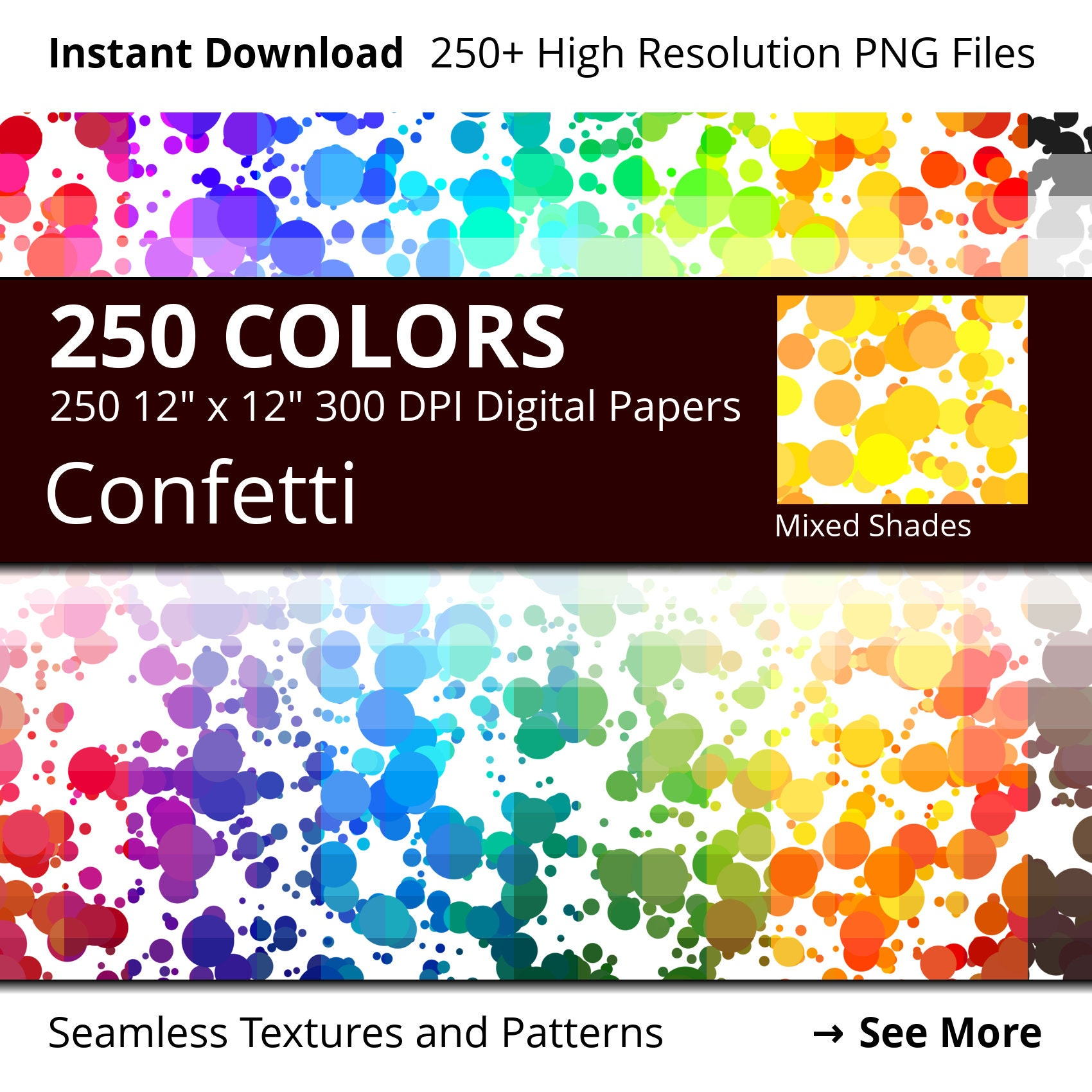 confetti digital paper pack 250 colors digital paper confetti dots