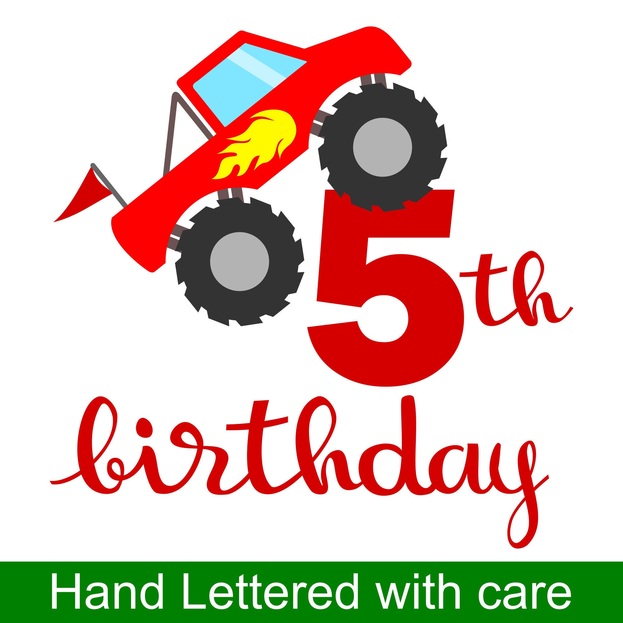 Monster Truck 5th Birthday Svg And Printable Clipart To Make A 5th Birthday Shirt Gift Card Invite Or Invitations For Boys