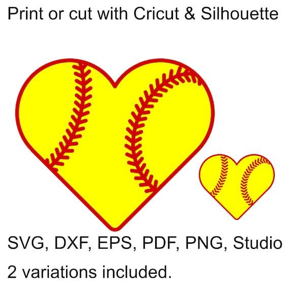 Softball Heart SVG File For Cricut & Silhouette Heart