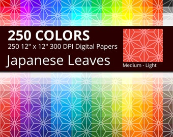250 Japanese Leaves Digital Paper Pack with 250 Colors, Rainbow Colors Medium Tinted Japanese Leaves Pattern Scrapbooking Paper Download