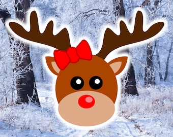 Lady Reindeer Face SVG file with bow tie / knot,  Miss Rudolph Head SVG design for Cricut, Deer Girl Clipart, Christmas gifts ideas for her