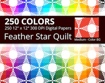 Feather Star Quilt Digital Paper Pack, 250 Colors Quilt Digital Paper Feathers Stars in Rainbow Colors, 2 Tones Feathered Star Pattern
