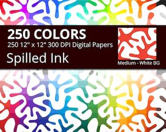 Paint Splatter Digital Paper Pack, 250 Colors Organic Algae Digital Paper Spilled Ink, Medium Ink Spots Pattern, Ink Splatter Papers