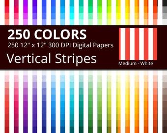 White Vertical Stripes Digital Paper Pack, 250 Colors White Vertical Stripes Scrapbooking Paper Download, Medium White Vertical Stripes