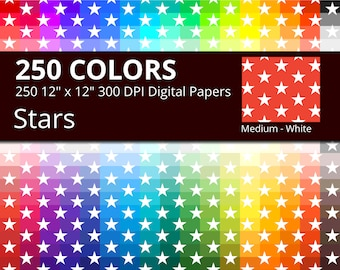 250 White Stars Digital Paper Pack with 250 Colors, Rainbow Colors Medium White Star Pattern Scrapbooking Paper Download