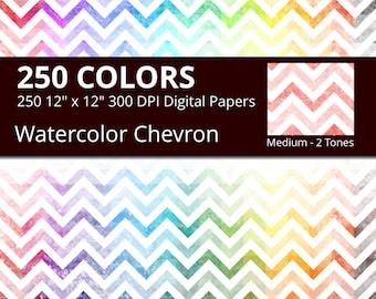 Watercolor Chevron Digital Paper Pack, 250 Geometric Digital Paper Chevron in Rainbow Colors, Chevrons Background Watercolor Texture JPG