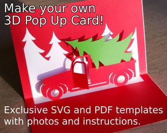 Christmas Truck Popup Card Template SVG & PDF for Cricut, Silhouette or hand cut,DIY Pop-up Christmas card, Christmas Tree Kirigami design