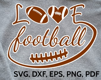 Love Football SVG Design - SVG Football Love cut file for Cricut & Silhouette - Football SVG clipart to make tshirts, caps, cards etc.