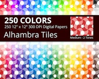 Alhambra Azulejos Tiles Digital Paper Pack, 250 Colors Arabic Digital Paper Tiles in Rainbow Colors, Moroccan Tiles Digital Background