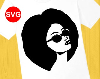 Afro Woman with Shades SVG File, Afro Lady with Sunglasses SVG cut file and printable clipart