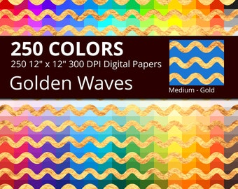 250 Golden Waves Digital Paper Pack with 250 Colors, Rainbow Colors Gold Sea Waves Pattern Digital Scrapbooking Paper Download
