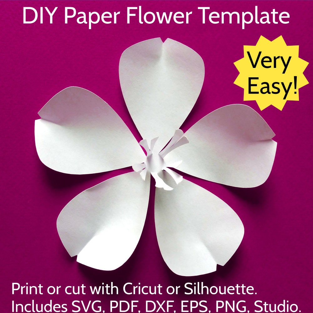 Easy Diy Paper Flower Template No Glue Needed Sakura Cherry