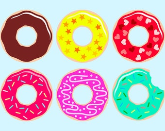 Set of 6 Assorted Donuts SVG files for Cricut and Silhouette