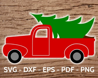 Christmas Truck SVG file - Cricut SVG Christmas Tree Farm Delivery Truck - Red Vintage Truck SVG - Merry Christmas!
