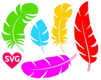 Colorful feathers SVG files to print or cut
