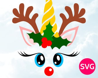 Unicorn Reindeer Face SVG - Cool unicorn with antlers design - Cute reindeer head with horn - Christmas SVG for Cricut & Silhouette