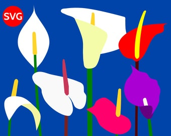 7 Arum Lilies SVG Tropical Flowers, paper flower SVG cut files and printable flowers clipart