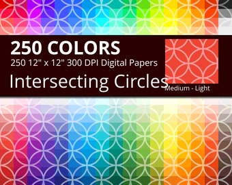 250 Japanese Circles Digital Paper Pack with 250 Colors, Rainbow Colors Tinted Intersecting Circles Shippou Pattern Scrapbooking Download
