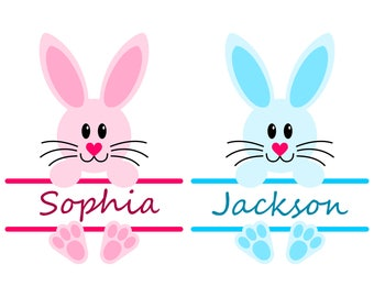 Easter Bunny SVG Monogram Frames for Girl and Boy, SVG files for Cricut and Silhouette