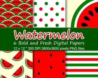 Watermelon Digital Paper Pack, 6 Summer Digital Papers, Seamless Watermelon Patterns and Textures, Digital Paper Watermelon Commercial Use