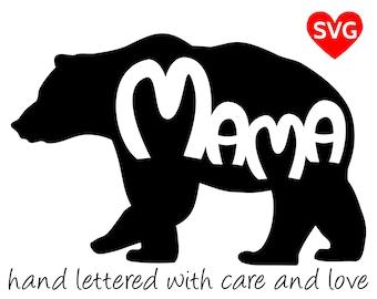 Mama Bear SVG Files for Cricut and printable clipart to make Mama Bear shirts, hats, mugs, vinyl decals and gifts