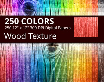 250 Wood Digital Paper Pack, 250 Digital Paper Wood Texture Scrapbooking Paper Download, Rainbow Colors Wood Background, Rustic Wood Paper