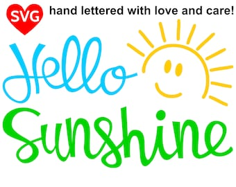 Hello Sunshine SVG File for Cricut and Silhouette to celebrate Summer and Spring by making a cool Hello Sunshine shirt to wear outside