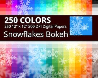 Snowflakes Bokeh Digital Paper Pack, 250 Colors Bokeh Ice Crystals Digital Paper, Bokeh Christmas Background, Digital Snow Backdrop