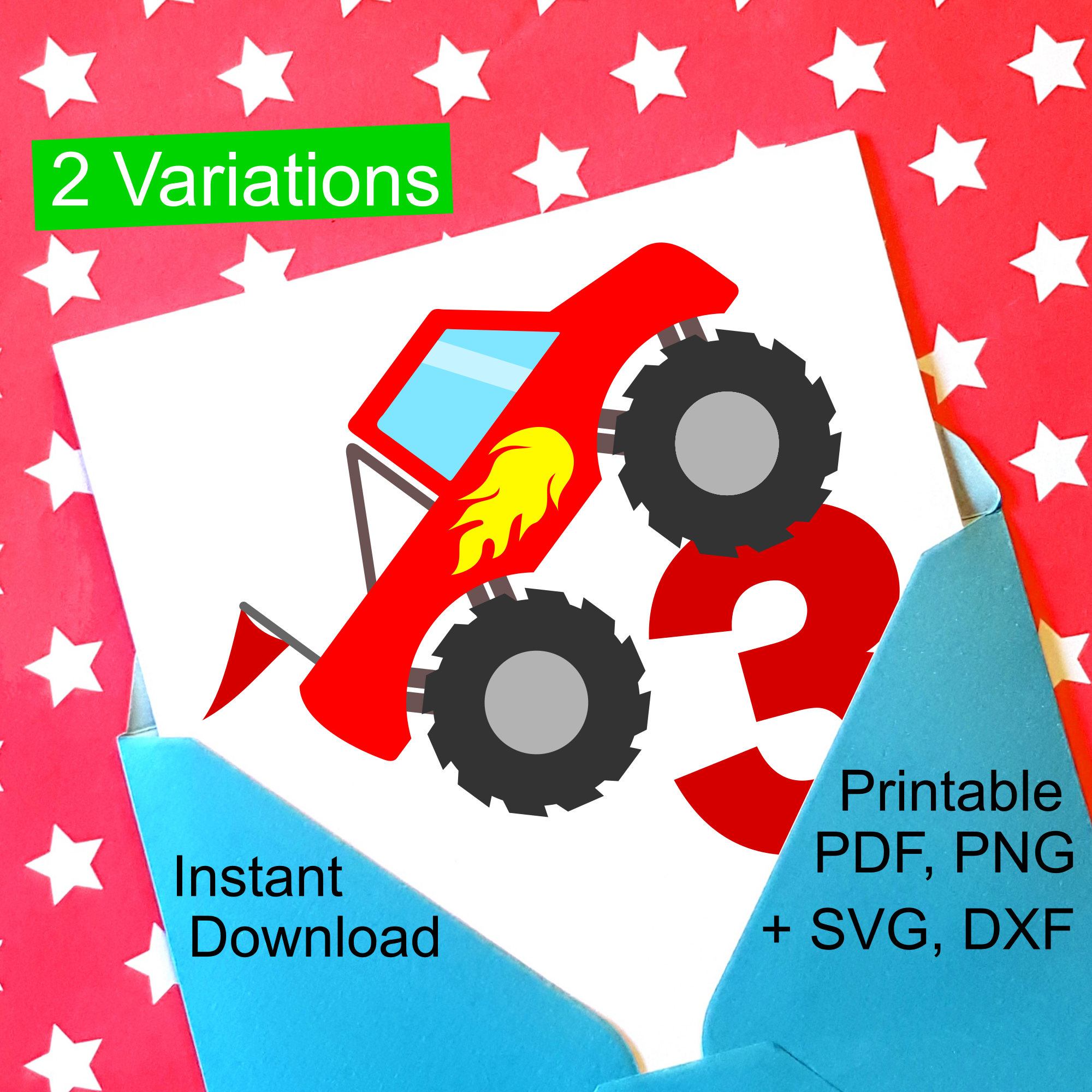 Monster Truck 3rd Birthday SVG and Printable Clipart to make a 3rd ...