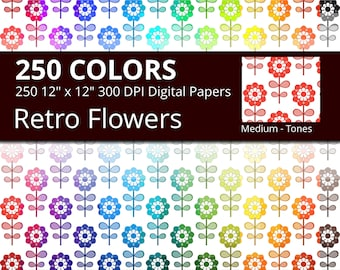 Retro Flowers Digital Paper Pack, 250 Colors Floral Digital Paper Flower Pattern in Rainbow Colors, Vintage Floral Background Flowers