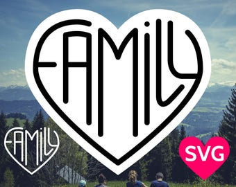 Heart shaped Family SVG file to show how much love there is in the family!