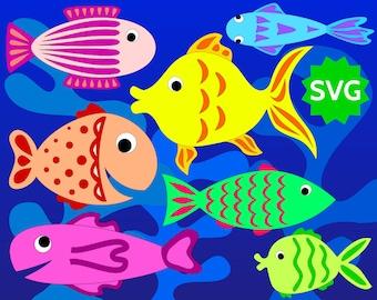 7 Assorted SVG Fishes + 3 Algae. Fish clipart / Aquatic plants for Sea, Ocean, Underwater, Aquarium. SVG cut files for Cricut & Silhouette.
