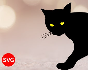 Black Cat Coming From Outside a Door or Window, Black Cat SVG File for Cricut and Silhouette