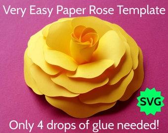 "Easy Paper Rose Template SVG ""Emily"" Cricut, Silhouette SVG PDF Digital Paper Flower Design for Backdrop, Nursery Wall Decor, Wedding Wreath"