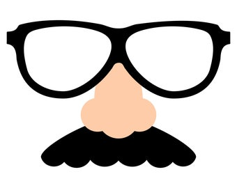 Fake Nose Mustache and Glasses SVG file for April Fool's Day, to make jokes and pranks, April Fool's cards and signs
