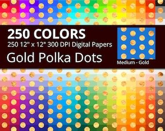 250 Golden Polka Dots Digital Paper Pack with 250 Colors, Rainbow Colors Gold Polka Dots Pattern Digital Scrapbooking Paper Download