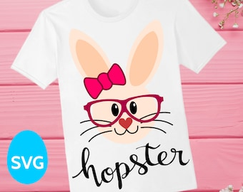 Miss Easter Hopster Bunny SVG file with a cute bow knot and glasses to make Easter shirts for girls