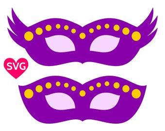 Mardi Gras mask SVG files, set of 2 Venitian masks printable clipart