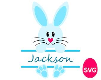 Easter Bunny Split Monogram Frame for Boys SVG file and printable clipart