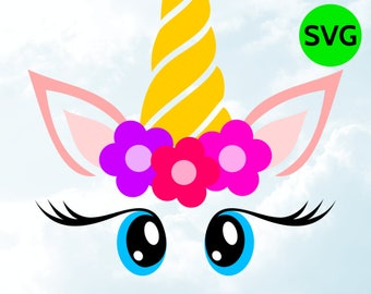 Unicorn Face SVG with Flowers, Horn, Eyelashes and Big Cute Eyes to print or cut with Cricut & Silhouette
