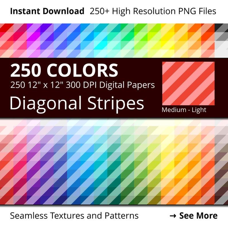 Diagonal Stripes Digital Paper Pack 250 Colors Diagonal image 0