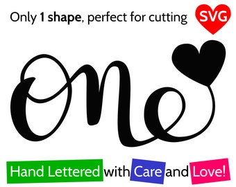 One and Heart SVG File for Boy and For Girl to make a First Birthday Cake Topper or Card