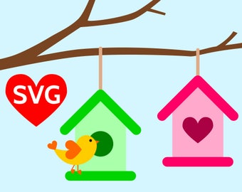 Birdhouse SVG files for Cricut & Silhouette, 2 Bird houses hanging from a tree branch and a bird SVG cut files, Love Heart Bird house SVG