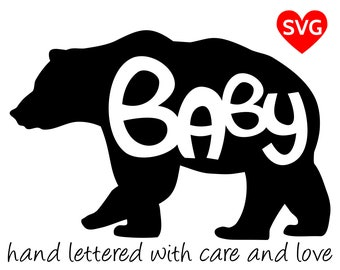 Baby Bear SVG Files for Cricut and printable clipart to make Baby Bear shirts, hats, mugs, vinyl decals and gifts