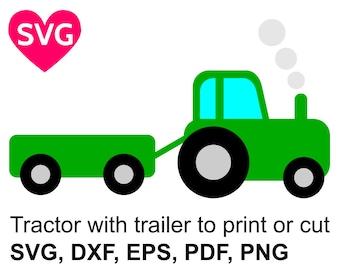 Farm Tractor with trailer SVG file for Cricut & Silhouette