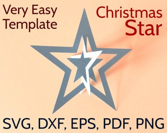3D Paper Christmas Star SVG and PDF Template, 3D Christmas Star design, Chrismas SVGs, Papercraft, Easy DIY Christmas Crafts