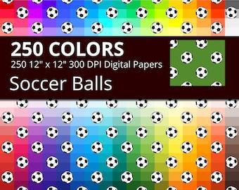 Soccer Balls Digital Paper Pack, 250 Colors Digital Paper Soccer Balls Download, Rainbow Soccer Digital Papers, Sports Digital Papers