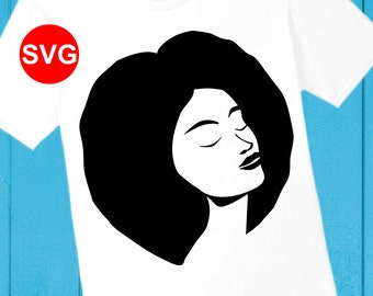 Afro Woman SVG File for Cricut and printable clipart, Silhouette of a beautiful black woman with afro hair