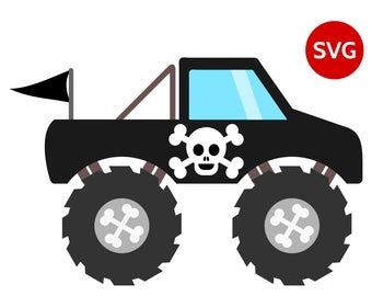 Black Pirate Monster Truck SVG File with Skull & Bones Pirate Flag, great to make Pirate shirts for boys and Pirate birthday invitations