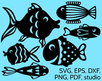 SVG Fish Cut Files for Cricut & Silhouette. Vector fishes design for cutting, perfect for summer craft projects